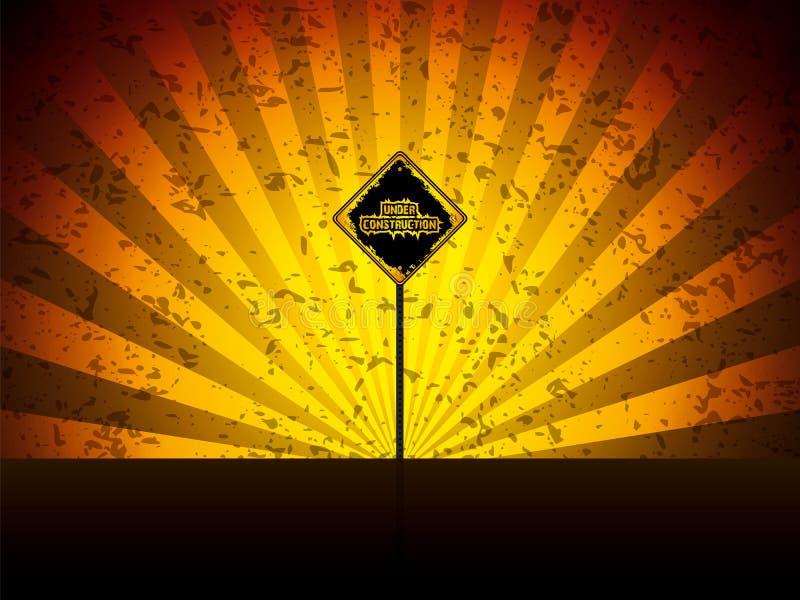 Sob o sinal de estrada da construção ilustração royalty free