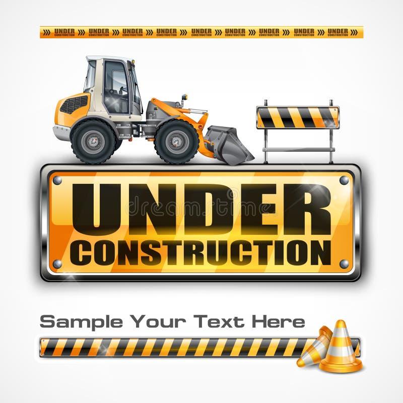 Sob o sinal & o trator da construção ilustração do vetor