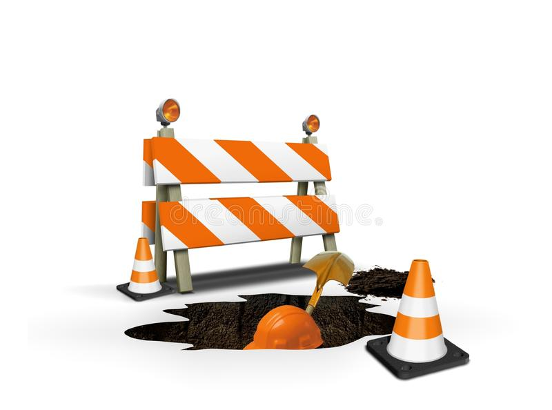 Sob o trabalhador de construção que escava um furo ilustração do vetor