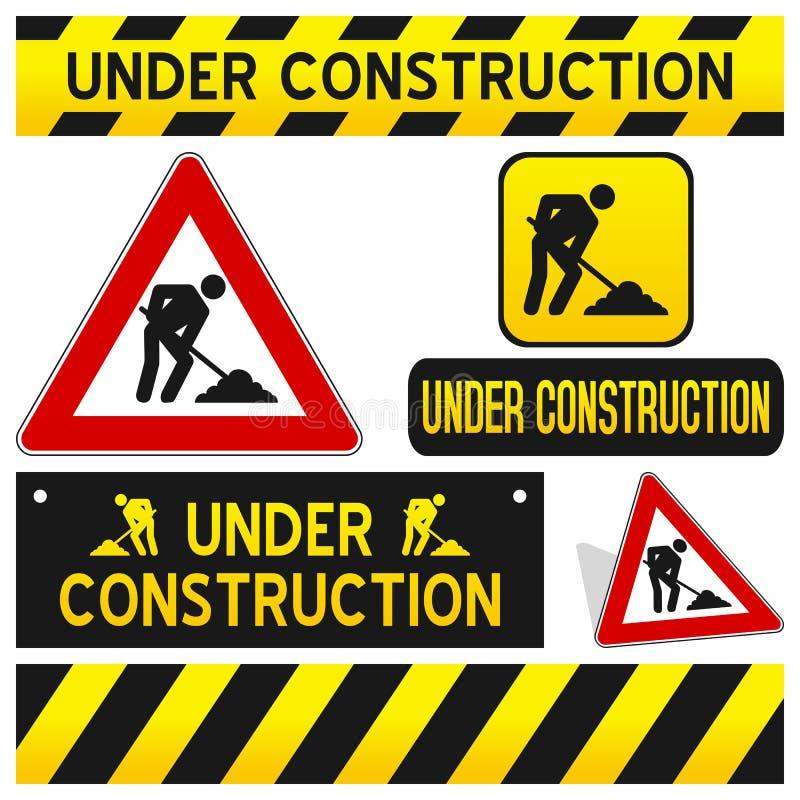 Sob os sinais da construção ajustados ilustração royalty free