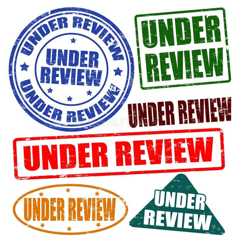 Sob a revisão, grupo do selo ilustração do vetor