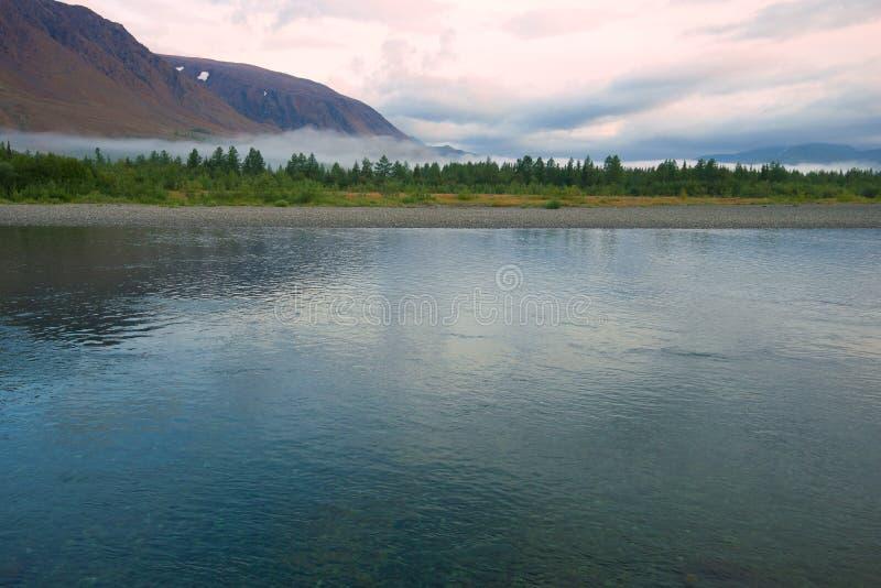 Sob river. Polar Ural, Russia. August early morning on the Sob river. Polar Ural, Russia stock photos