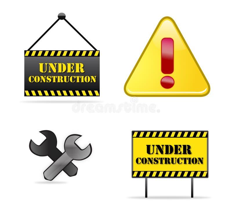 Sob sinais da construção ilustração do vetor