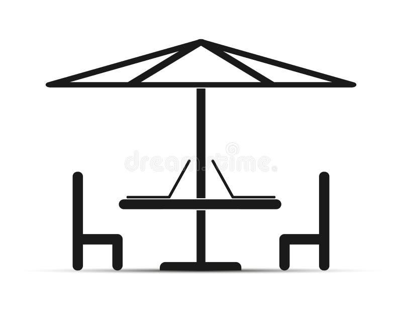 Sob a tabela do guarda-chuva com portáteis e cadeiras, projeto simples ilustração do vetor