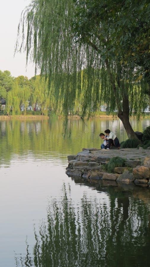 Sob Willow Tree - lago em Hangzhou fotografia de stock