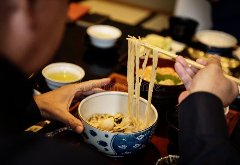 Soba面条日本食物烹调 免版税库存图片