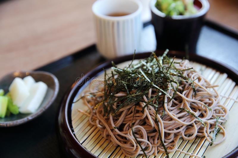 Soba Noodles , japanese food. In close up royalty free stock photography