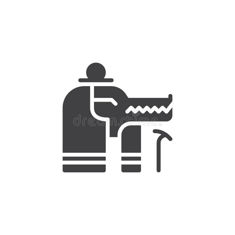 Sobek Egypt God vector icon stock illustration