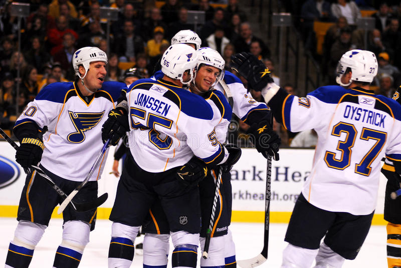 Sobotka's first goal as a Blue. Vladimir Sobotka is congratulated by his teammates after scoring his first goal as a St. Louis Blue. Ironically the goal came stock images