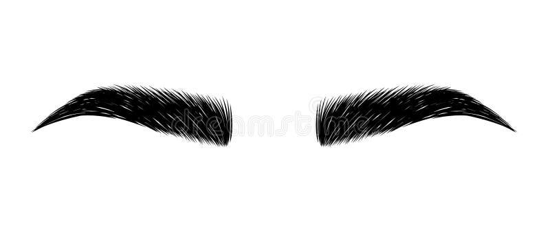 sobrancelha dada forma perfeitamente composição permanente e tattooing Cosmético para as sobrancelhas ilustração stock