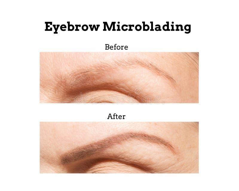 Sobrancelha Microblading antes e depois fotos de stock royalty free