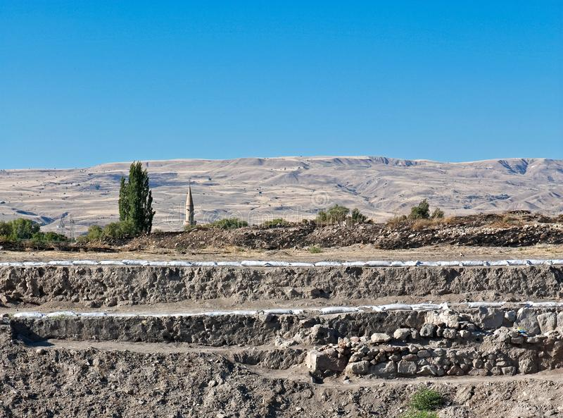 Sobras antigas e escavação arqueológico, Kueltepe, Kanish, imagens de stock royalty free