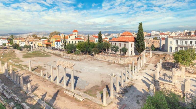 Sobras de Roman Agora em Atenas, Grécia imagens de stock royalty free