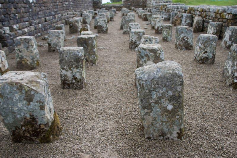 Sobras do celeiro, Housesteads Roman Fort, Hadrian& x27; parede de s foto de stock