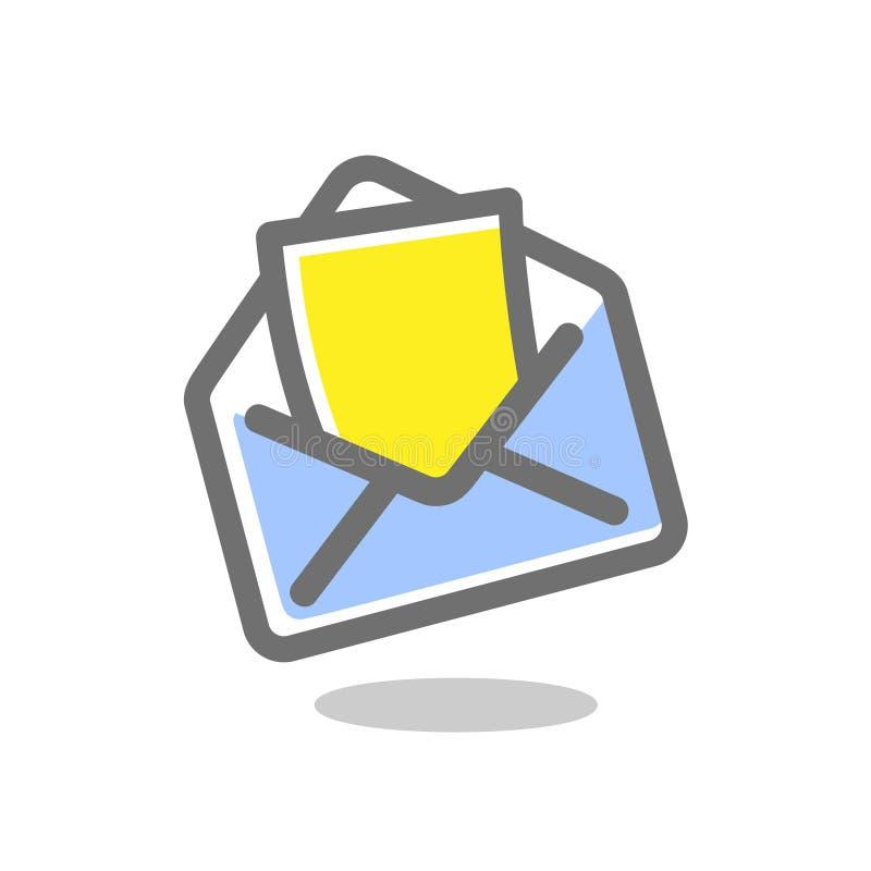 Sobre abierto con el papel de nota Icono del correo Ilustraci?n del vector Muestra brillante, coloreada en un fondo blanco stock de ilustración