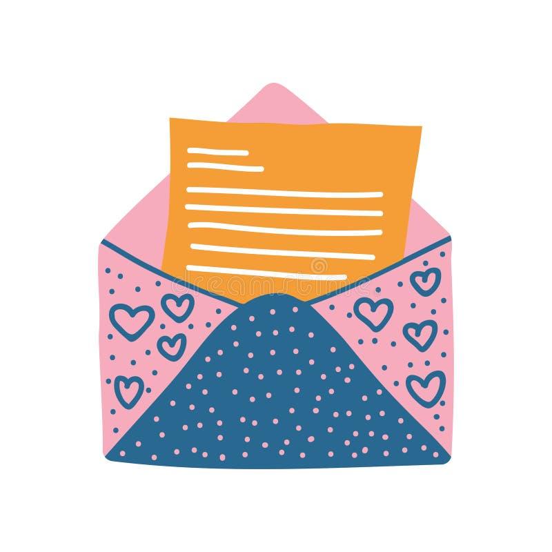 Sobre abierto retro del correo con el ejemplo del vector de la letra libre illustration