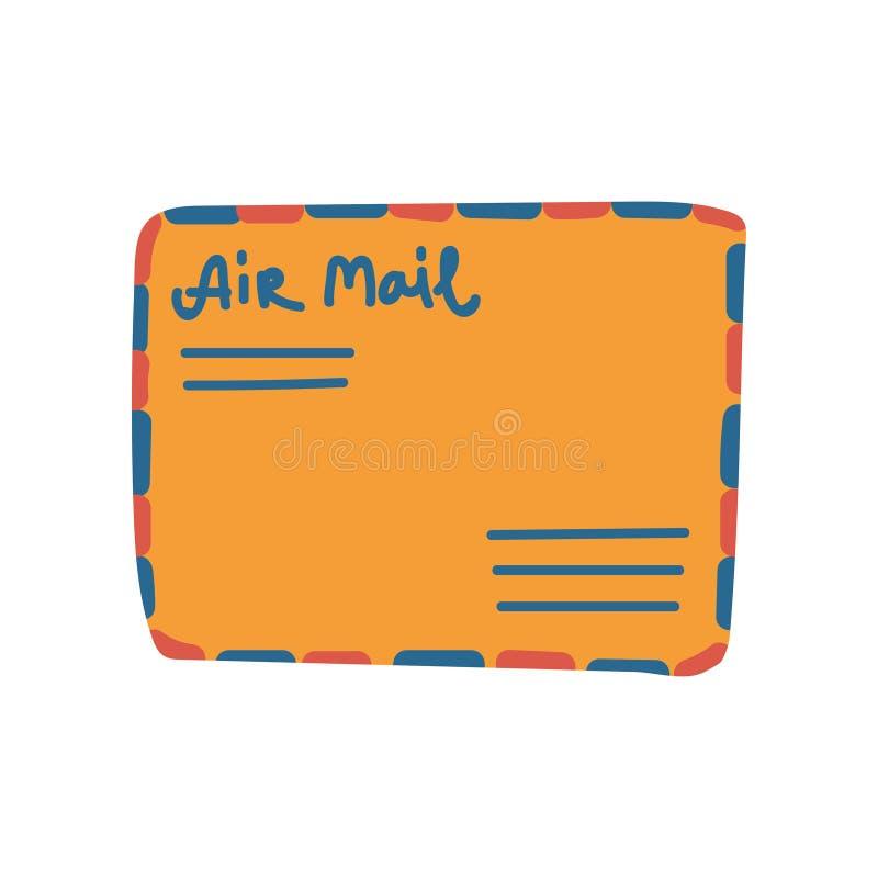 Sobre anaranjado retro del correo con el ejemplo del vector de la dirección stock de ilustración