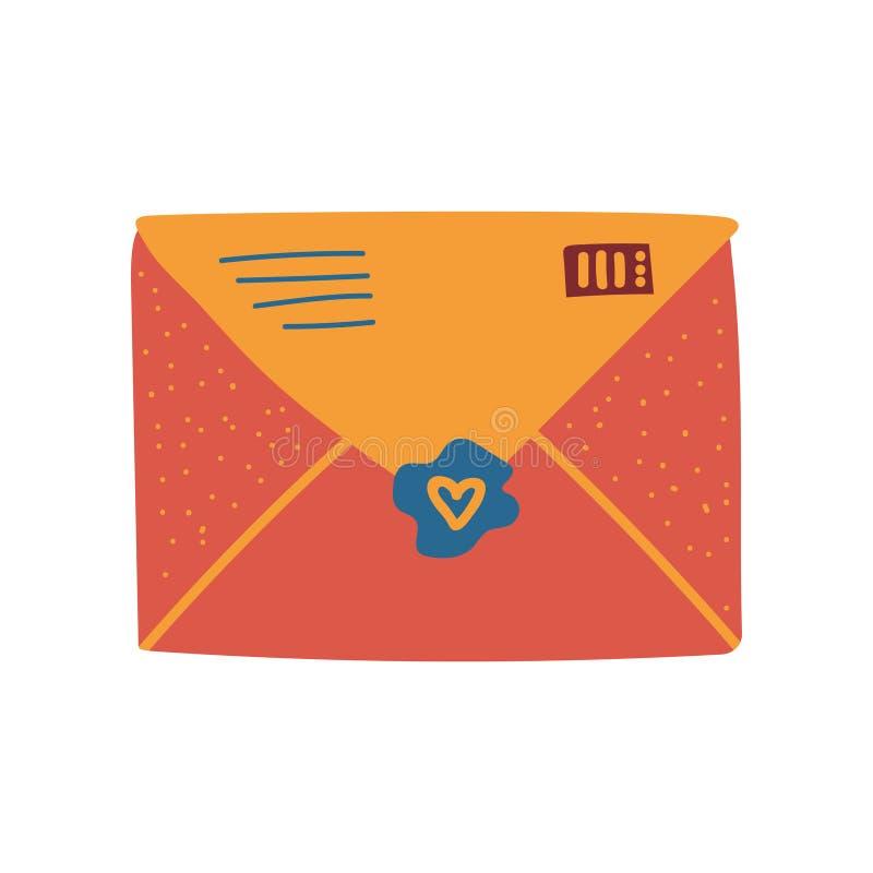 Sobre anaranjado retro del correo con el ejemplo del vector del sello y del sello stock de ilustración