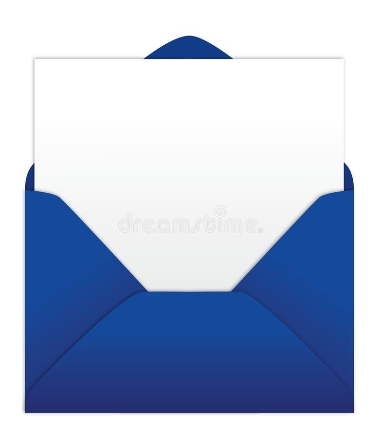 Sobre azul con la carta en blanco stock de ilustración