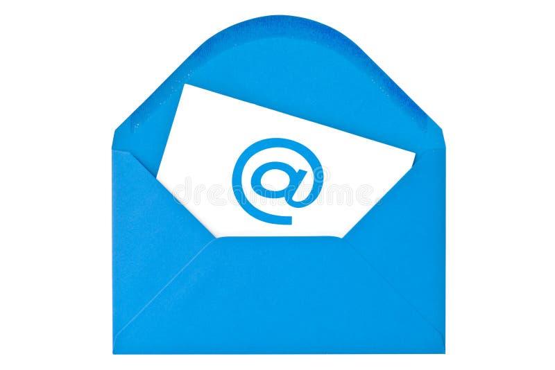 Sobre azul con símbolo del email fotografía de archivo libre de regalías