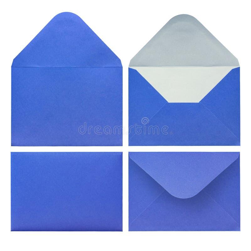 Sobre azul del papel de diversos lados imagen de archivo