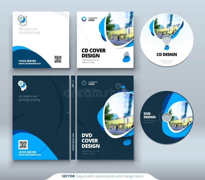 Sobre CD, diseño del caso del DVD Plantilla anaranjada del negocio corporativo para el sobre y la caja CD del DVD Disposición con ilustración del vector