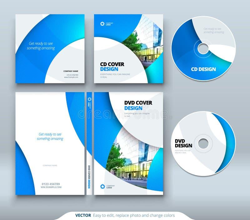 Sobre CD, diseño del caso del DVD Plantilla del negocio para la caja CD del sobre y del disco del DVD ilustración del vector