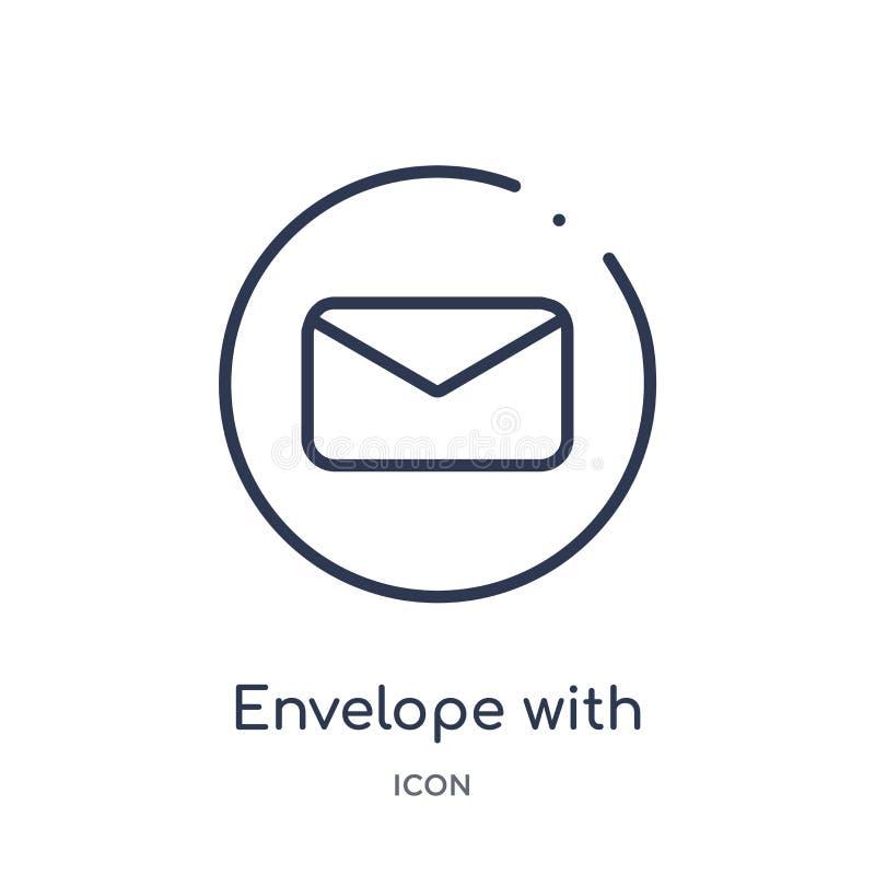 sobre con el icono del mensaje de la colección del esquema de la interfaz de usuario Línea fina sobre con el icono del mensaje ai libre illustration