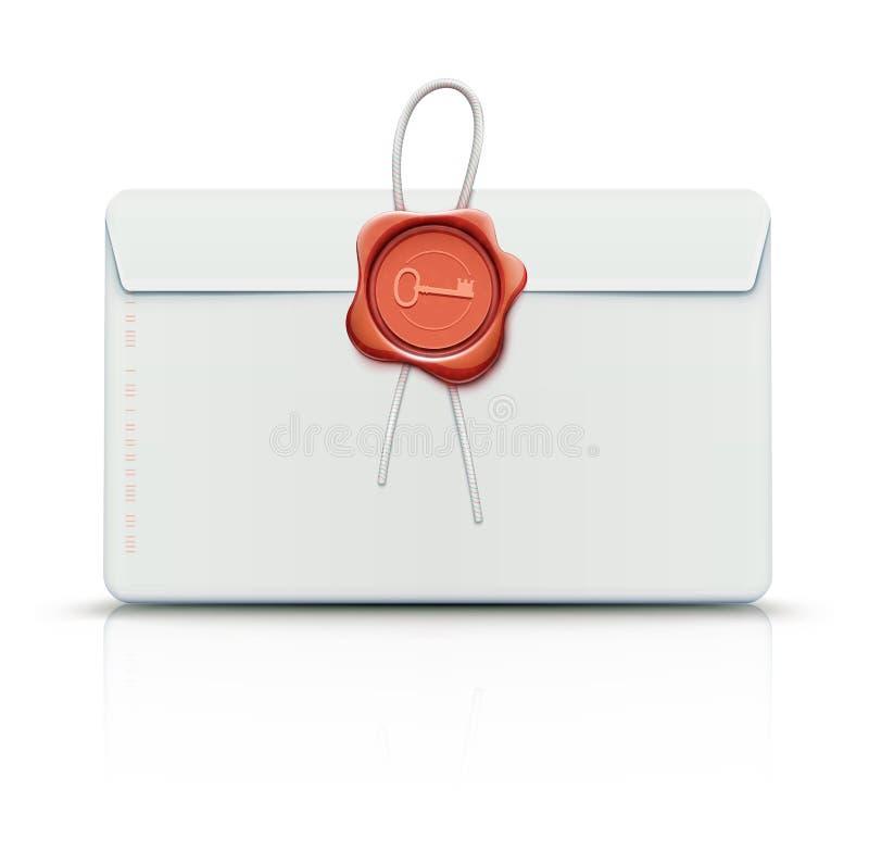 Sobre con el sello rojo de la cera stock de ilustración