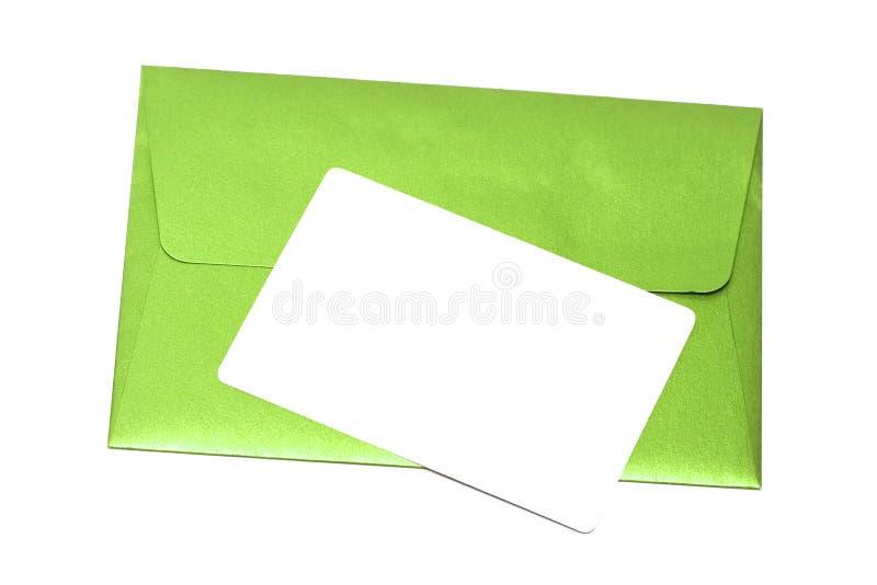 Sobre con la tarjeta congratulatoria foto de archivo libre de regalías