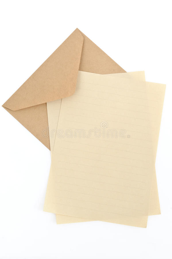 Sobre de Brown con el papel de carta imagen de archivo