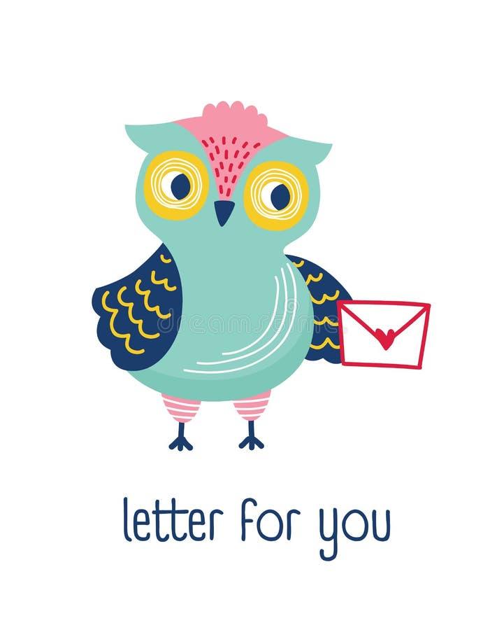 Sobre de la tenencia del búho, correo o mensaje y letra divertidos de la frase para usted Pájaro lindo del bosque aislado en el f stock de ilustración