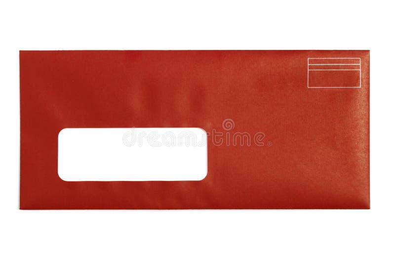 Sobre de ventana rojo fotos de archivo