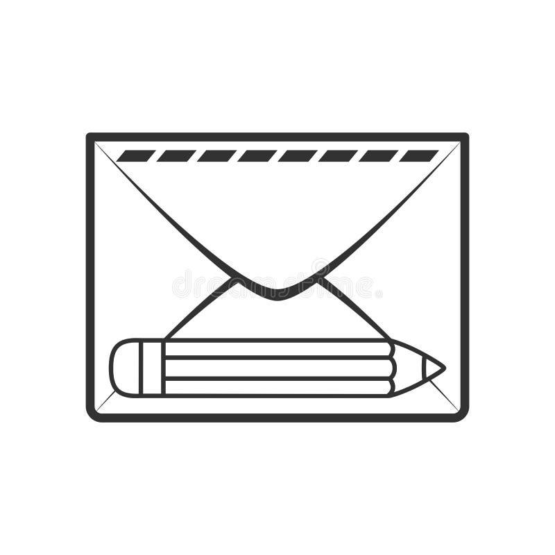 Sobre del correo con el icono plano del esquema del lápiz libre illustration
