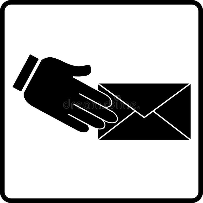 Sobre del correo electrónico con la mano ilustración del vector