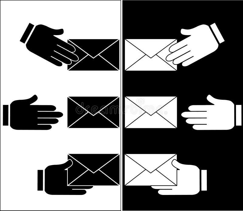 Sobre del correo electrónico con la mano libre illustration