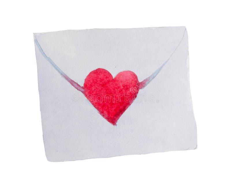 Sobre del ` del día del ` s de la tarjeta del día de San Valentín del St de la acuarela del ` del amor para amado fotografía de archivo libre de regalías