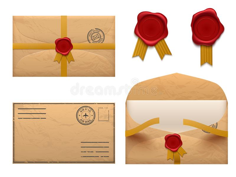 Sobre del vintage Letra retra de los sobres con el sello del sello de la cera, viejo sistema del vector del reparto del correo libre illustration