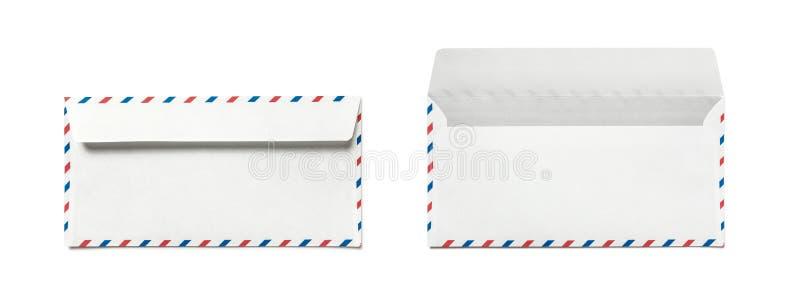 Sobre en blanco aislado, vista posterior del correo aéreo Parte posterior doble imagen de archivo libre de regalías