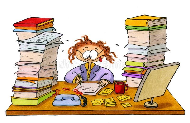 Sobre-horas de trabalho da mulher ilustração stock