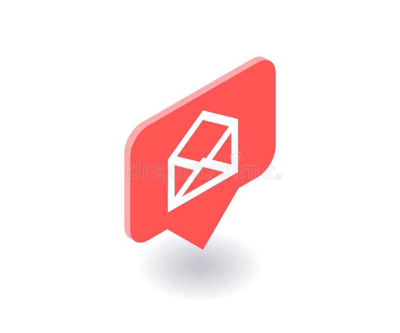 Sobre, icono del correo, símbolo del vector en el estilo isométrico plano 3D aislado en el fondo blanco Medios ejemplo social ilustración del vector