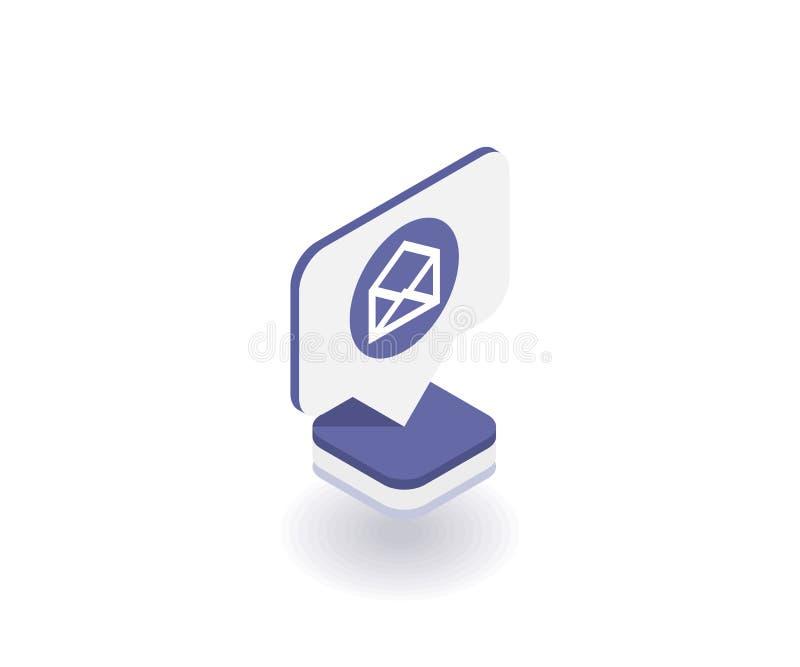 Sobre, icono del correo, símbolo del vector en el estilo isométrico plano 3D aislado en el fondo blanco Medios ejemplo social libre illustration