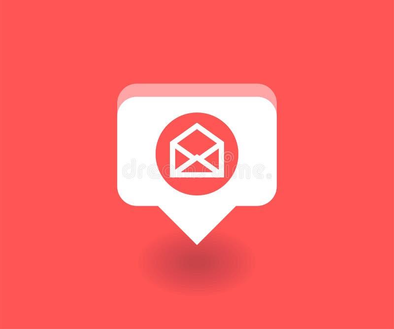 Sobre, icono del correo, símbolo del vector en estilo plano aislado en fondo rojo Medios ejemplo social libre illustration