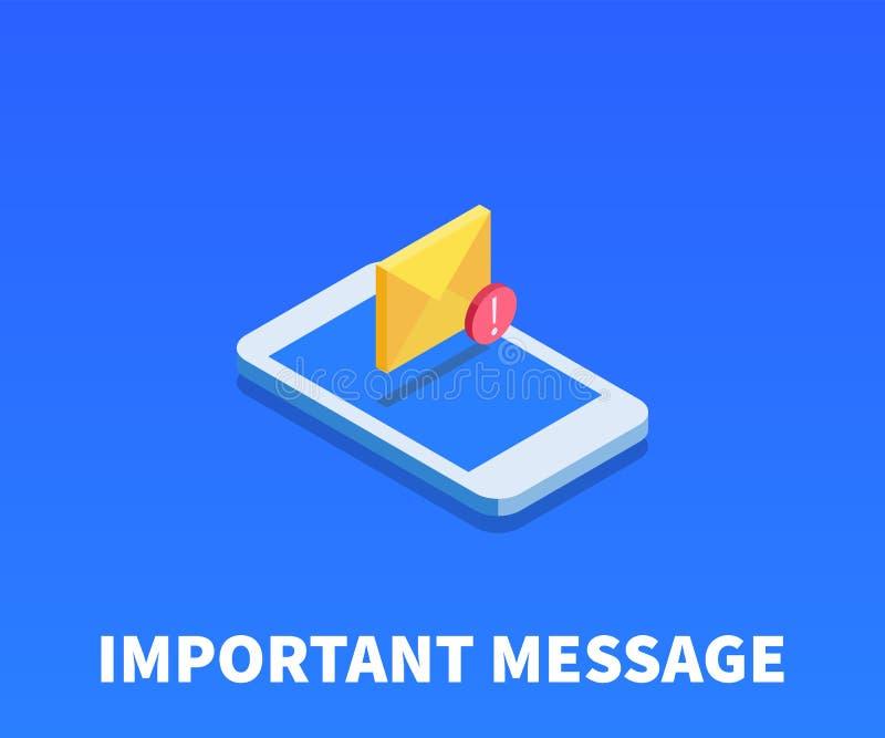 Sobre, icono importante del mensaje, símbolo del vector ilustración del vector