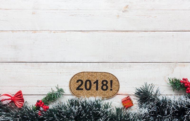 Sobre imagen de la visión del concepto de la Feliz Año Nuevo 2018 y del fondo de la Feliz Navidad imagen de archivo libre de regalías