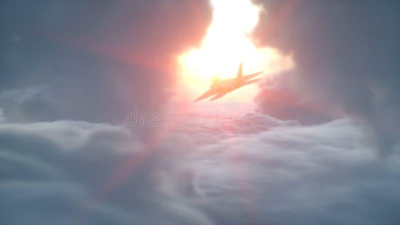 Sobre la opinión aérea de las nubes avión de reacción militar que vuela Puesta del sol de Wonderfull representación 3d ilustración del vector