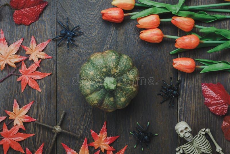 Sobre la vista del fondo del festival del feliz Halloween de la muestra de la decoración fotos de archivo libres de regalías