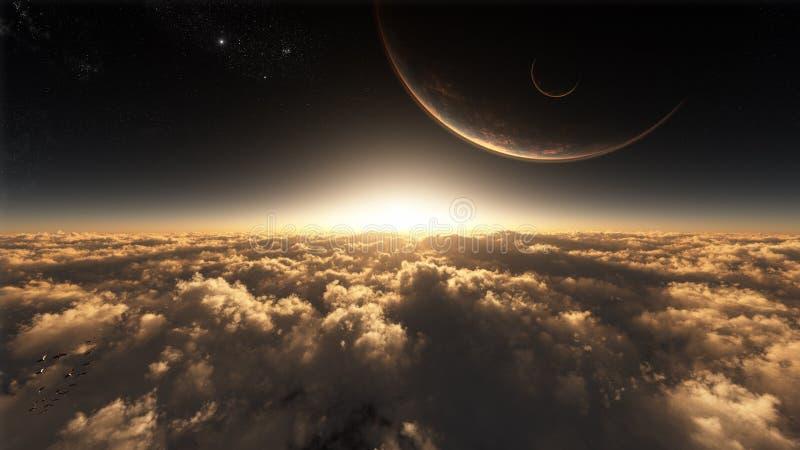 Sobre las nubes en espacio ilustración del vector