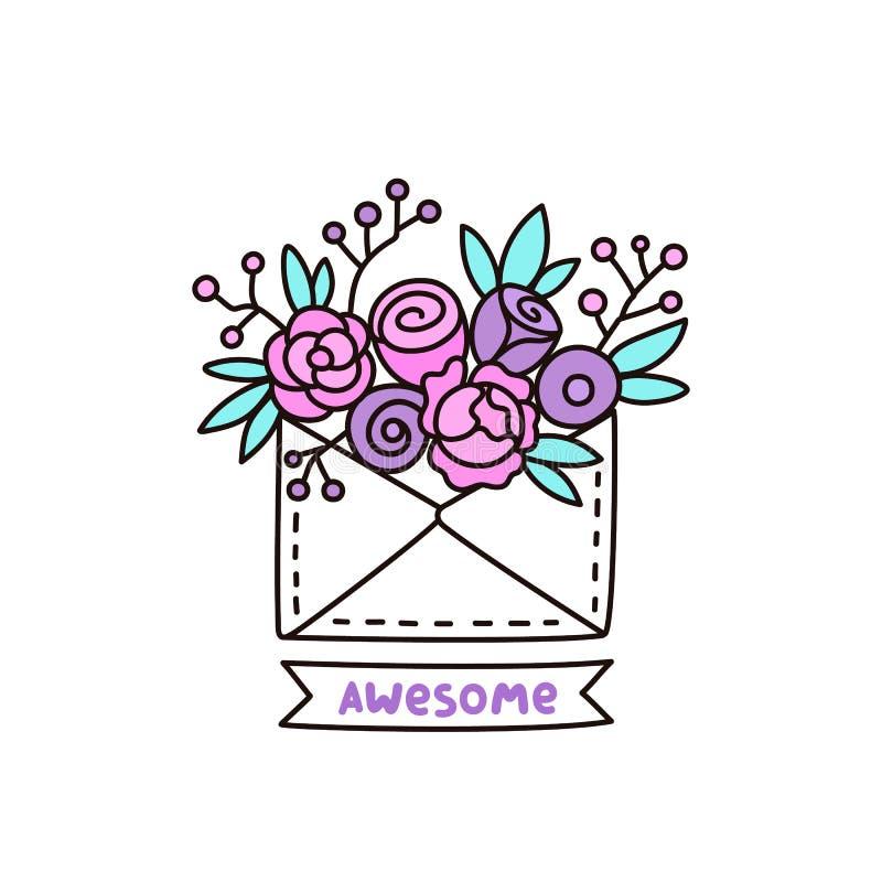 Sobre lindo con las flores en un fondo blanco ilustración del vector