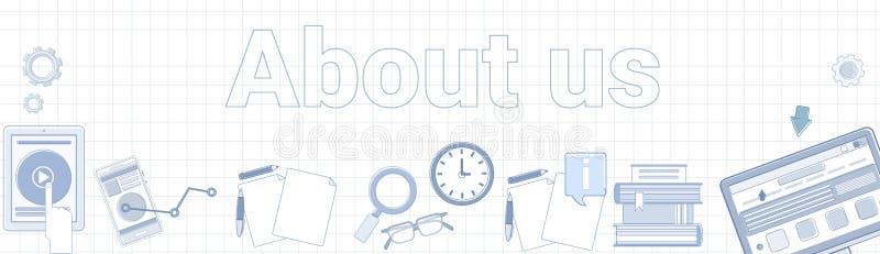 Sobre nosotros palabra en concepto horizontal ajustado de la página de la información de contacto de la bandera del fondo stock de ilustración